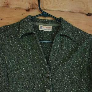 Vintage Green Wool Cardigan